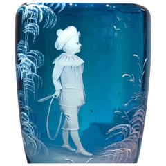 Large Victorian Blue Glass Vase, 'Mary Gregory' Type Child and Hoop, circa 1880
