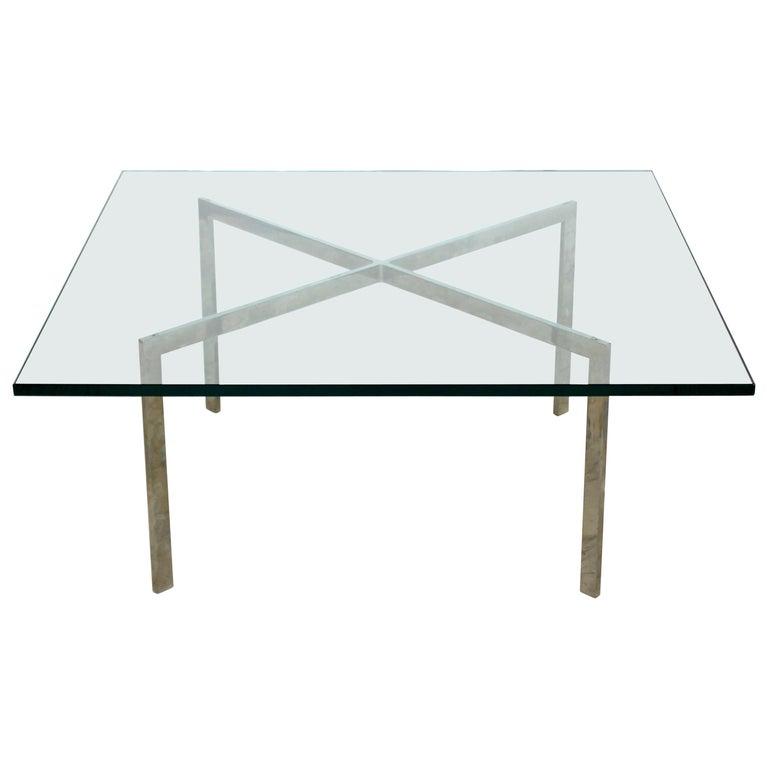 Mid-Century Modern Mies Van der Rohe Chrome Glass Barcelona Coffee Table 1970s