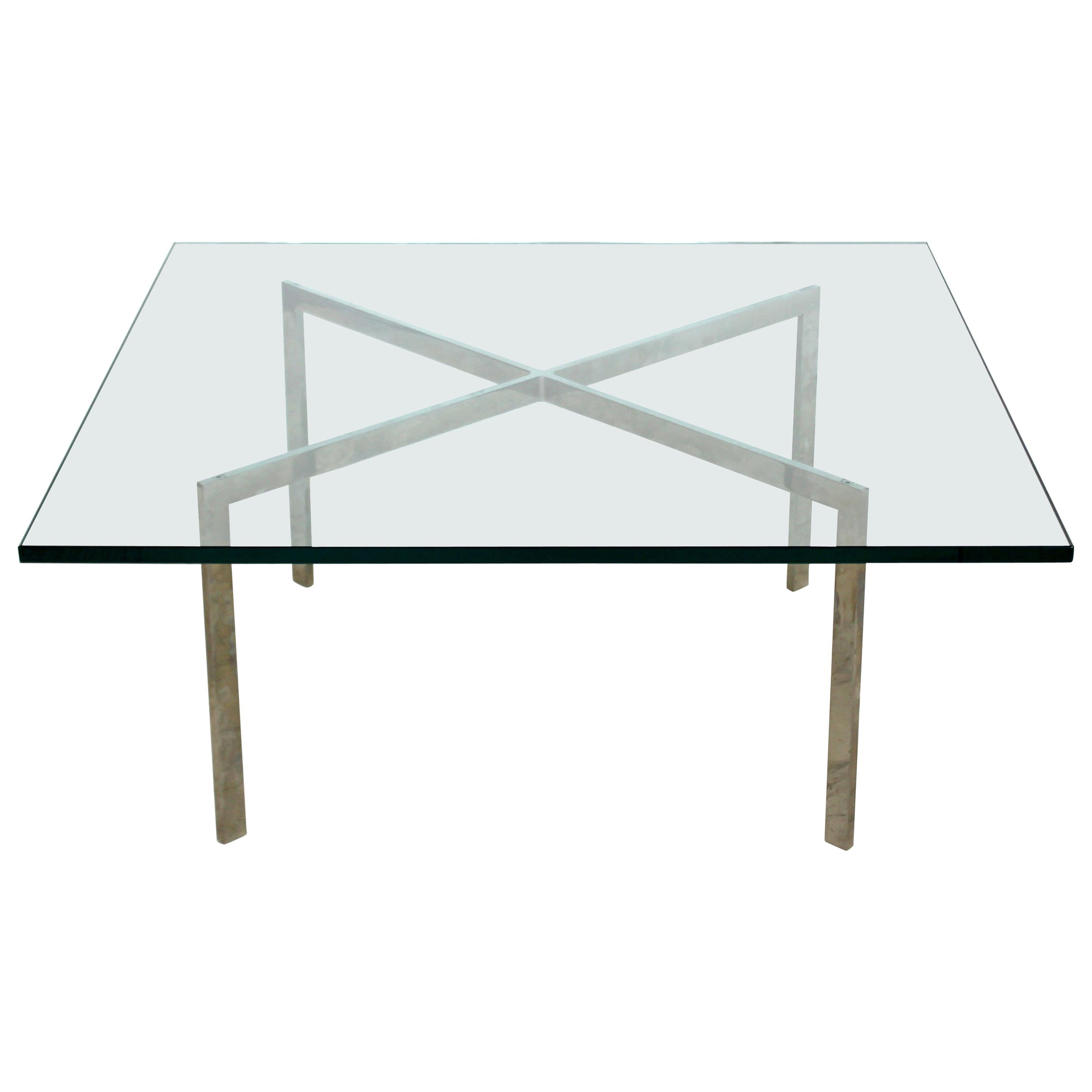 Mid Century Modern Mies Van Der Rohe Chrome Glass Barcelona Coffee Table  1970s For Sale