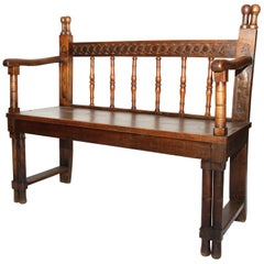 18th Century Spanish Bench with Cadeneta Style Carving