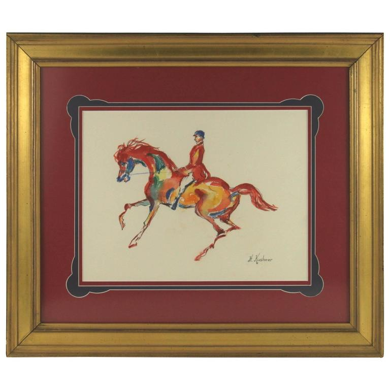 Red Horse Watercolor by H. Krushner