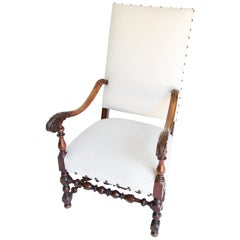 19th Century Louis XIII French Armchair, Newly Upholstered