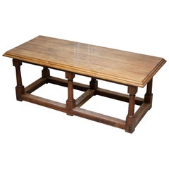 17th Century Style French Victorian Walnut Planked Top Refectory Dining Table