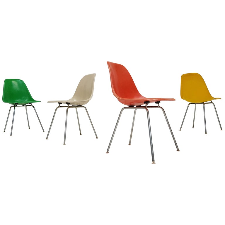 Set of Fibreglass Charles and Ray Eames Designed DSX Chairs for Herman Miller
