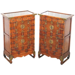 Pair of Antique Chinese Tiger Oak Small Cupboards Bank of Drawers Side Table