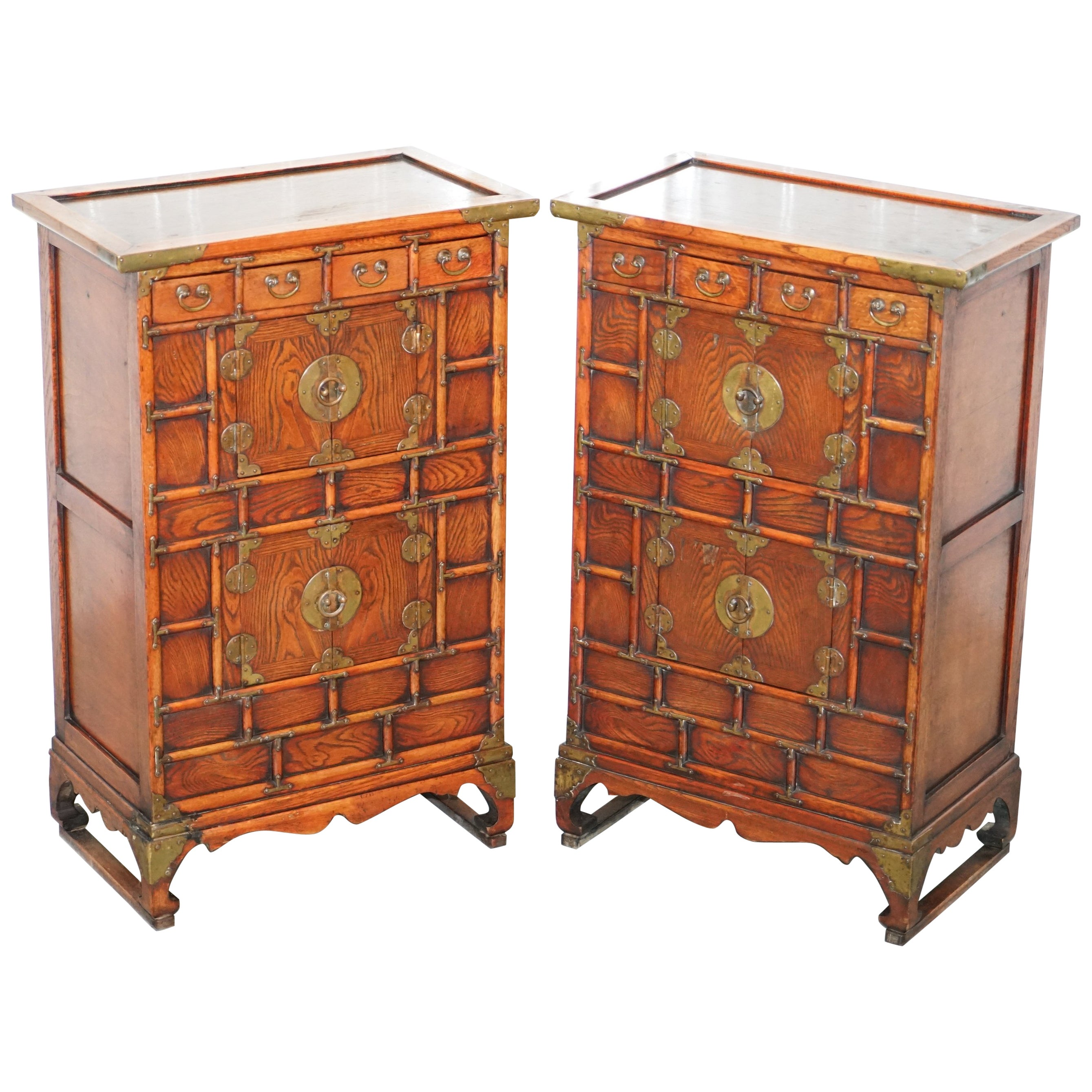 Pair Of Antique Chinese Tiger Oak Small Cupboards Bank Of Drawers