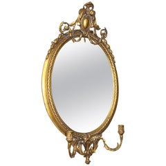 Victorian Girandole Oval Gilt Mirror