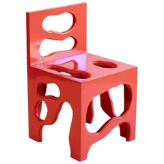 Slurp Chair in Red Laminated Pine by Henrik Ødegaard
