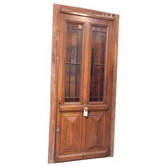 Walnut Door with Glass, circa 1870