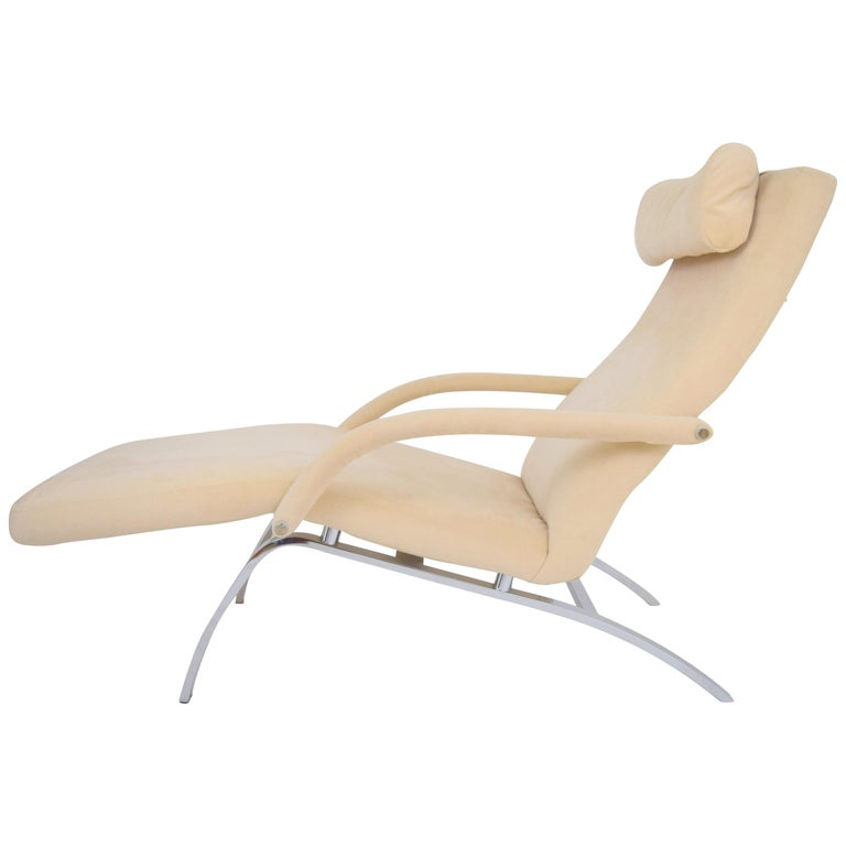 Modern Chaise Lounge in Microfiber and Chrome by Design Institute of America For Sale
