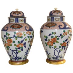 Pair of Large Imari Covered Vases