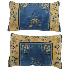 Pair of Chinese Blue Rug Pillows