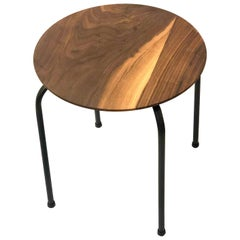 American Black Walnut Cocktail Table or Stool with Black Metal Base