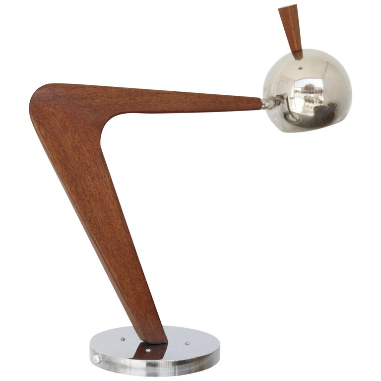 Vintage Chrome and Walnut Desk Lamp