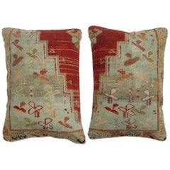 Pair of Red Turkish Oushak Rug Pillows