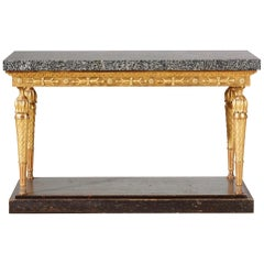 Important Late Gustavian Giltwood Console Table with a Rare Porphyry Top