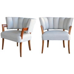 Rare and Iconic Pair of American Art Deco Armchairs by Eugene Schoen, New York