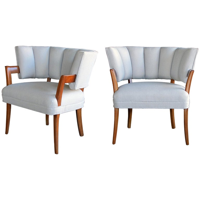 Rare And Iconic Pair Of American Art Deco Armchairs By Eugene Schoen New York For