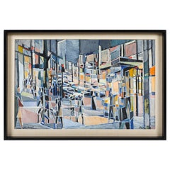 """Oil Painting on Canvas Titled """"Paris Boulevard by Night"""" by Jean Lamorlette"""