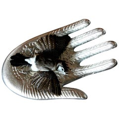 Bird Taxidermy Owl Finch 'Taeniopygia bichenovii' Silver Hand Sculpture