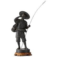Japanese Bronze Figure of a Fisherman