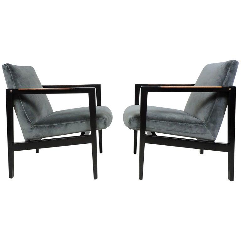 Pair of Edward Wormley for Dunbar Mid-Century Modern Lounge Armchairs