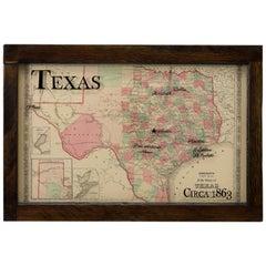 Texas Civil War Map, circa 1863