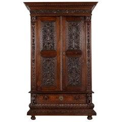 Elegant Carved 19th Century Italian Baroque Armoire