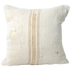 Grain Sack Pillow with Light Orange Vertical Stripe
