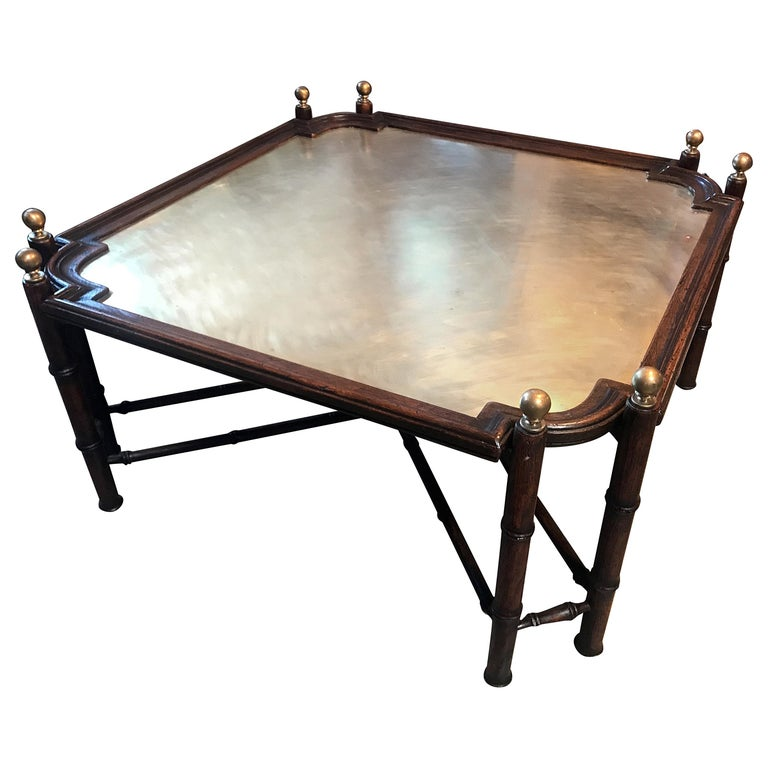 Chinese Chippendale Coffee Table in Bamboo and Brass, Italy, 1970s For Sale
