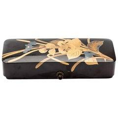 Japanese Black Lacquer Box with Gold and Silver Maki-E Floral Design, circa 1870