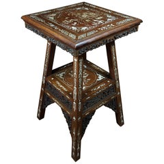 Chinese Hardwood Table with Fine Inlaid Bone Scenes, circa 1925