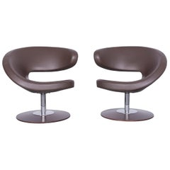 Varier Peel Designer Leather Club Chair Set Brown One-Seat Chairs