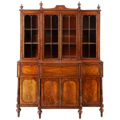 Early 19th Century Mahogany Breakfront Library Bookcase Attributed to Gillows