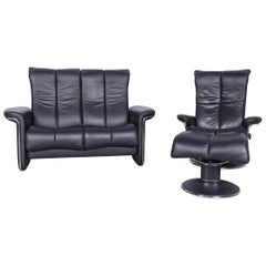 Ekornes Stressless Relax Sofa Armchair Set Black Leather TV Recliner Two-Seat