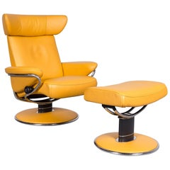 Ekornes Stressless Jazz Designer Leather Armchair Yellow with Stool