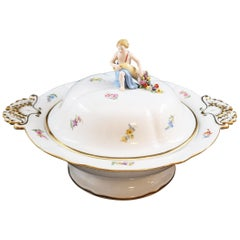 19th Century German Tureen with Finial in the Shape of a Young Girl, Porcelain