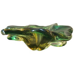 Seguso Style Mid-Century Modern Italian Green Yellow Murano Glass Ashtray 1970
