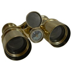 Antique English Field Glasses or Binoculars by Lawrence and Mayo, with Compass
