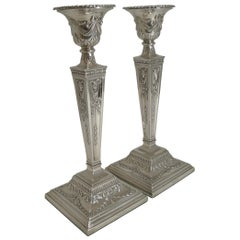 Large Pair of Antique English Silver Plated Candlesticks, Martin Hall & Co. Ltd