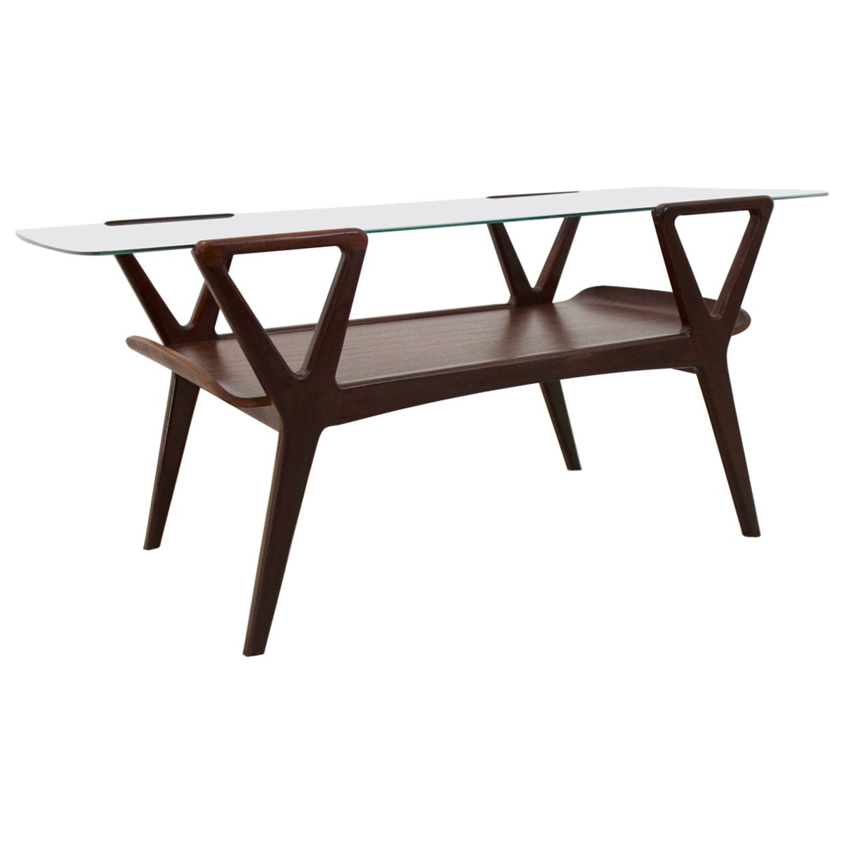 Graphic Scandinavian Teak Coffee Table with Glass Top, 1960s