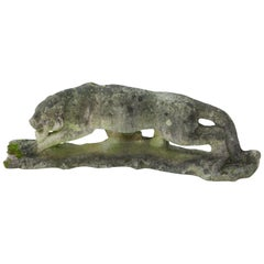 Cast Stone Sculpture of a Panther, France, 1940s