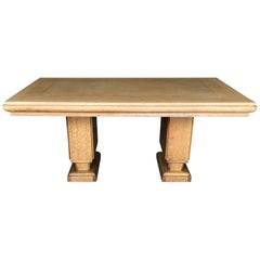 French Art Deco Cerused Oak Dining Table by Gaston Poisson