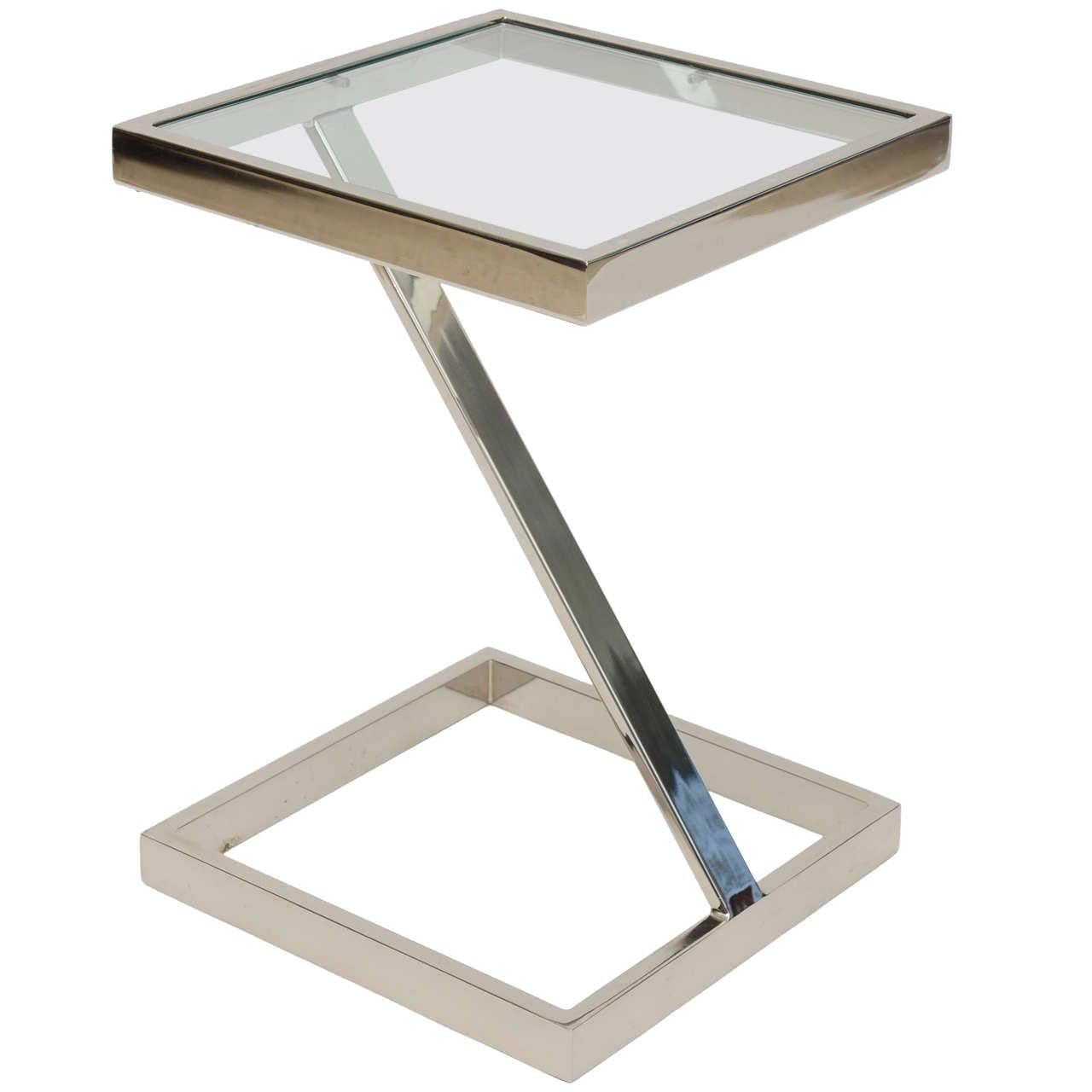American Modern Chrome and Glass Side Table, Pace Collection