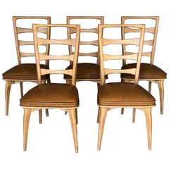 French Art Deco Oak Dining Chairs by Gaston Poisson, Set of Five