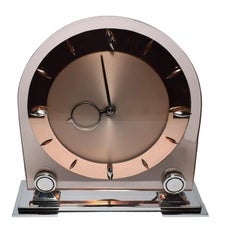 Large English 1930s Pink Glass and Mirror Mantle Clock