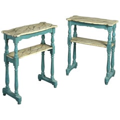 Pair of Louis-Philippe Painted Blue Etagere Tables or End Tables