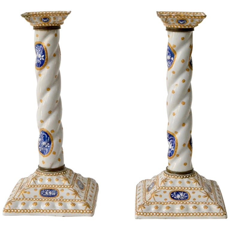 Pair of Enamel Decorated Candlesticks, 19th Century