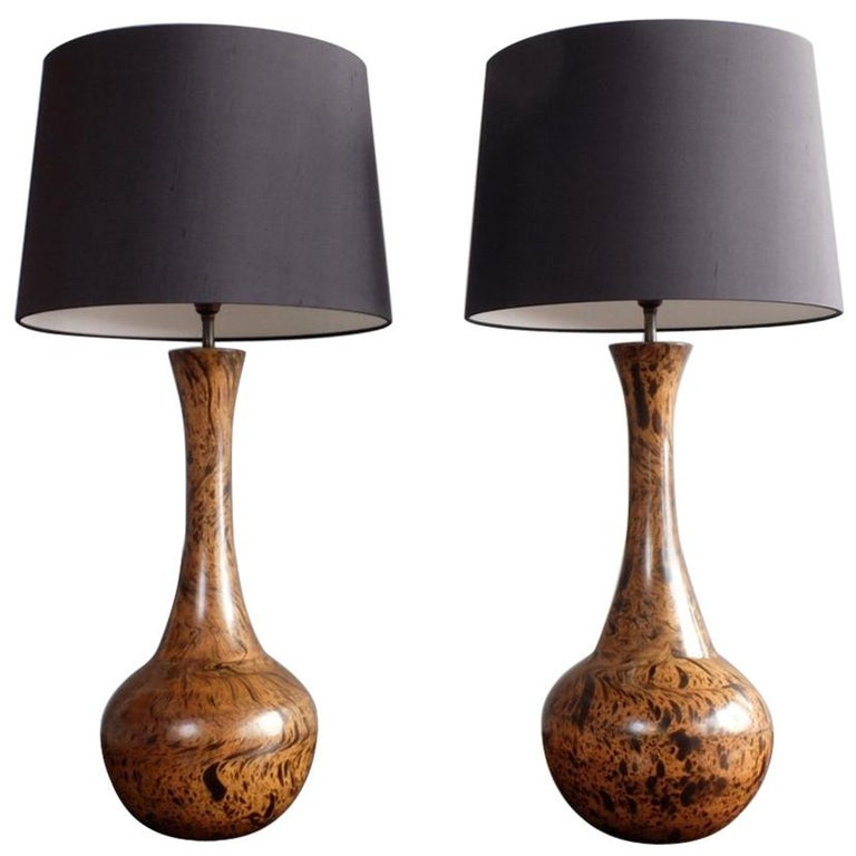 Pair of 1950s Midcentury Wooden Table Lamps