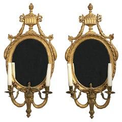 Pair of 19th Century Swedish Giltwood and Bronze Girandoles